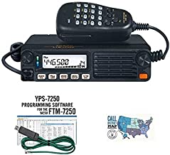 Radio and Accessory Bundle - 3 Items - Includes Yaesu FTM-7250DR 50W VHF/UHF Dual Band C4FM/FM Mobile Transceiver, RT Systems Programming Software/Cable Kit and Ham Guides TM Quick Reference Card