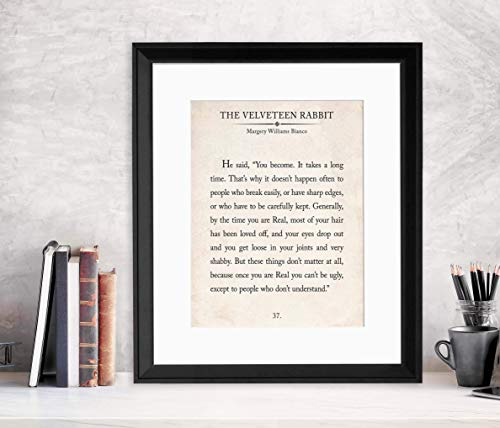 The Velveteen Rabbit Vintage Book Page Literary Quote Art Print for Home, Classroom or Library. Multiple Sizes Available.
