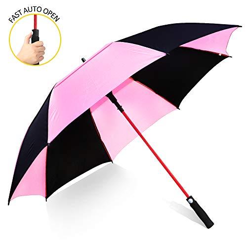 ZOMAKE 157cm Automatische Öffnen Golf Schirme Extra große Übergroß Doppelt Überdachung Belüftet Winddicht wasserdichte Stock Regenschirme (Schwarz/Rosa)