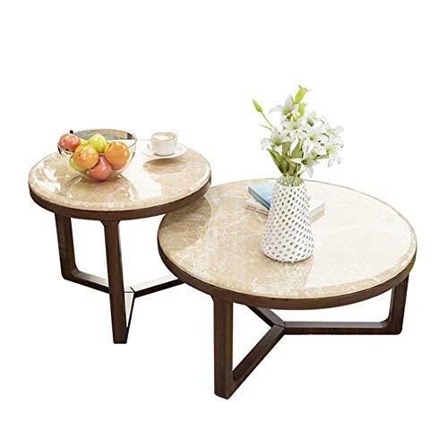 RJMOLU Mesa de Centro para Sala de Estar, Conjunto de 2 mesas de café Laterales de anidación, Tapa de Mesa de mármol con Mesa de cóctel de Marco de Madera, Montaje Estable y fácil,Walnut