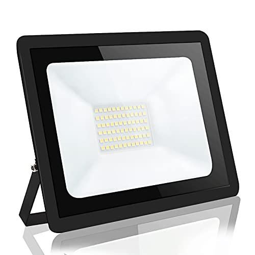 focos led exterior,Blivrig50W LED Foco Exterior de alto brillo,5000LM Impermeable IP66 Proyector Foco LED, Led Foco Exterio para Patio, Camino, Jardín (Blanco frio, 50W)