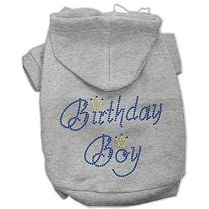 Mirage Pet Products 12-Inch Birthday Boy Hoodies, Medium, Grey