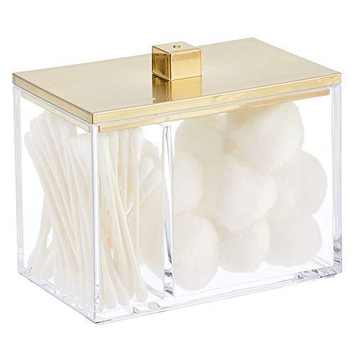 mDesign Organizador de Maquillaje – Caja organizadora con Tapa y 2 Compartimentos – Caja de plástico para bastoncillos, Discos desmaquillantes y esponjas – Transparente/Dorado latón