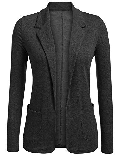 Concep Ladies Casual Lightweight Long Sleeve Fitted Open Blazer Cardigan Jacket Suit (Black Grey, XL)