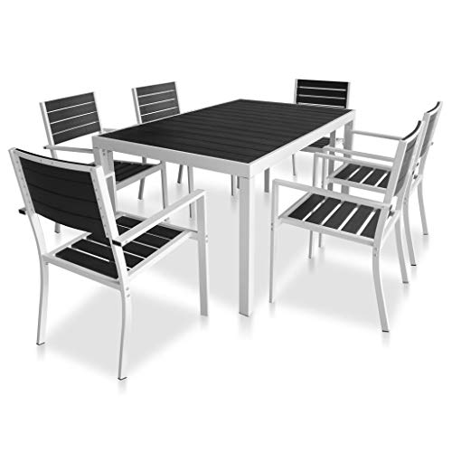 vidaXL Gartenmöbel 7-TLG. mit WPC-Tischplatte Sitzgruppe Gartenset Gartengarnitur Sitzgarnitur Tisch Stühle Esstisch Gartentisch Aluminium Schwarz
