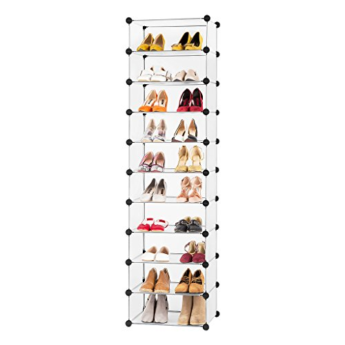 LANGRIA 10-Cube DIY Modular Shoe Rack Tower, Multi Use Storage Combination, Freestanding Organizer Cabinet with Doors, Translucent White