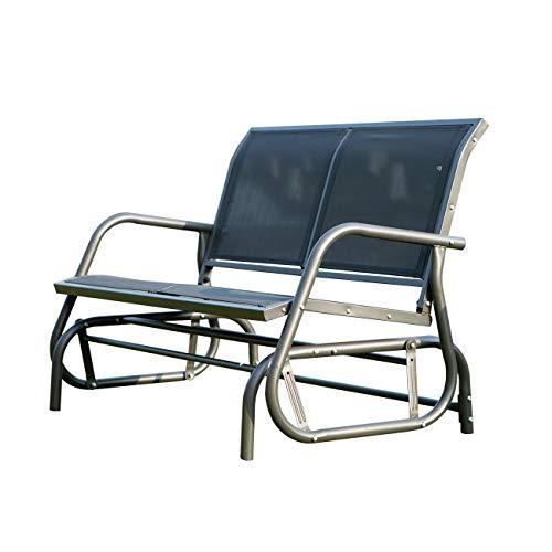 DlandHome Gartenschaukelbank 2 ergonomische Sitze Armlehnen Sitz und Rückenlehne Textilene Stahl Schwarz 121L x 71 x 86H m