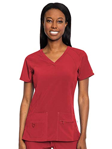 Med Couture Activate Women's V-Neck Racerback Scrub Top, Red, XX-Large