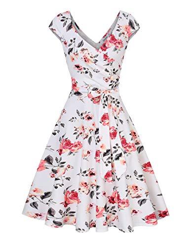 KOJOOIN Damen Vintage V-Ausschnitt Abendkleid ärmellosen Blumen Bestickt knielangen Cocktailkleid Weiß Blumen Floral【EU 38-40】/M