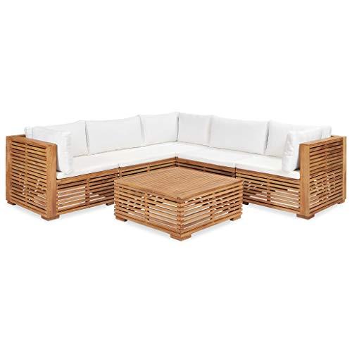 vidaXL Teak Massiv Gartenmöbel 6-TLG. mit Auflagen Sofa Lounge Möbel Sitzgarnitur Gartengarnitur Sitzgruppe Gartenset Gartensofa Mittelsofa Ecksofa