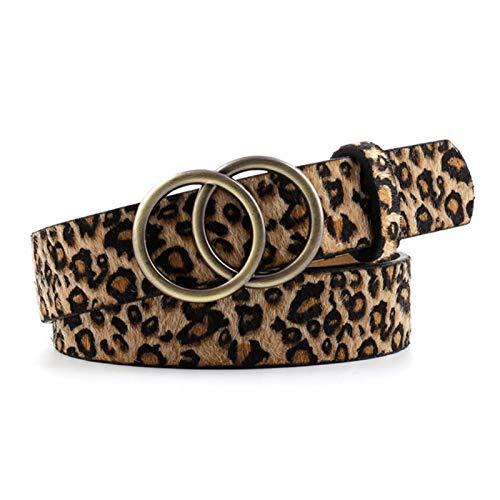 Home CNLXDSB Bene Cintura di Modo Doppia Anello ad Anello Perla Perla Ladies Belt Belt Belt Belt Belt Cinghia per la Decorazione (Color : Style 4 Leopard)