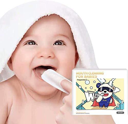 Baby-Zahnreinigungstücher | 0-36 Monate | Weiche Tücher zur Sanften Reinigung von Mund, Zahnfleisch und Zunge Ihres Babys | 60 Stück