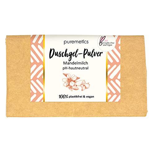 puremetics Zero Waste Duschgel Pulver | für alle Hauttypen | vegan & plastikfrei | ohne Tierversuche (Mandelmilch)