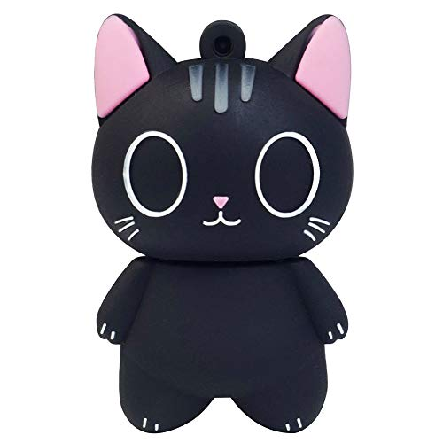 LEIZHAN 32GB USB-Stick Hochgeschwindigkeits-Silikon Memory Stick Cartoon Speicherstick Flash-Speicher-Stick Pen Drive Laptop-Computer PC Windows (32GB, Schwarze Katze)