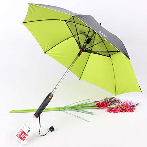 Ventilador Paraguas, Paraguas con Mango Largo Ventilador De Sol, Paraguas A Prueba De Protección UV Paraguas De Sol con Paraguas Ventilador Suplementario, Vinilo Verde