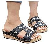 BIBOKAOKE Sandalias para mujer, con cuña, para verano, cómodas, ortopédicas, elegantes, para mujeres, niñas, sandalias de verano, zapatillas de estar por casa