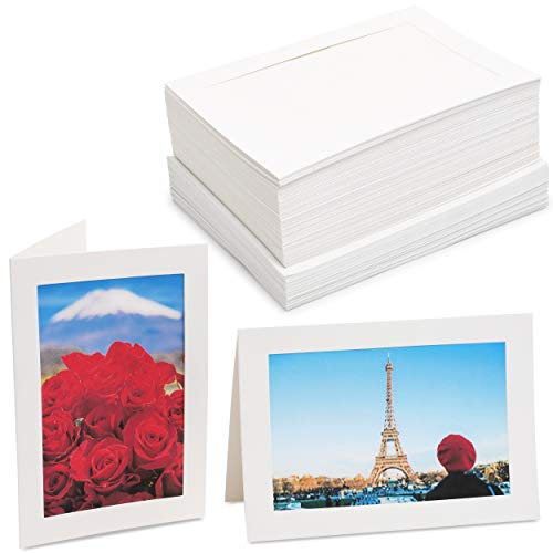 Photo Insert Note Cards - 48-Pack Paper Picture Frames Cards and Envelopes, Elegant White Paper Photo Mats, Perfect for Inserting and Sending Memorable Documents, White, Holds 4 x 6 Inches Inserts