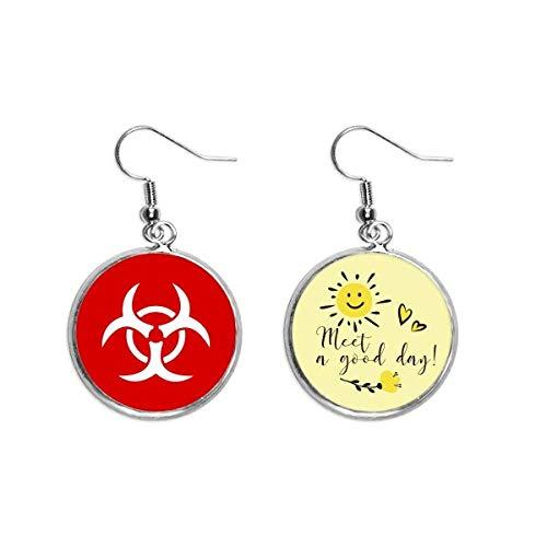 Infección Cuadrado Rojo Advertencia Marca Oído Gota Sol Flor Pendiente Joyería Moda