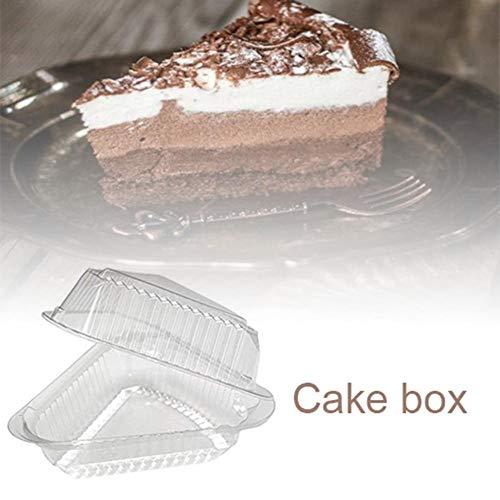 Boomboo 100PCS Caja de Pastel de triángulo de plástico, Pastel/Tarta de Queso/Rebanada de Pastel Caja de Pizza Snack Pastelería Contenedor Transparente para el hogar