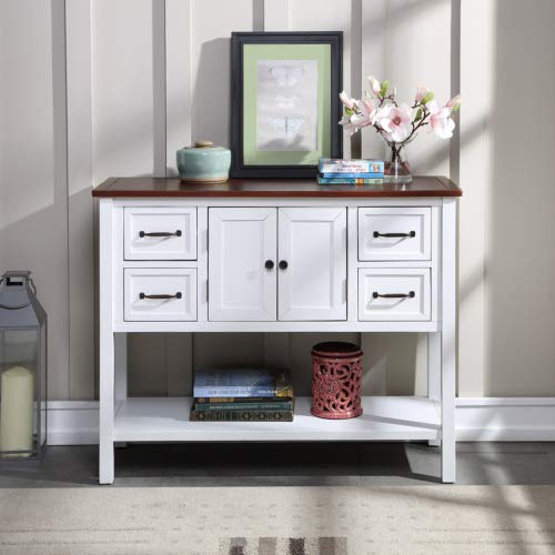 """Aurora Furniture 43"""" Modern Kitchen Sideboard Buffet Sideboard Cupboard Cabinet with 4 Drawers Storage Shelf and Cabinet, Freestanding Storage Cabinet Buffet Table Entry Table, White&Brown"""