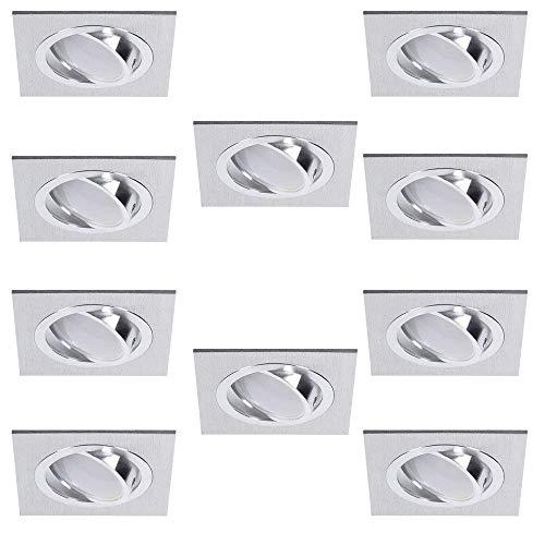 Spots LED Encastré 10er Set Luminaire à Encastrer Aluminium Carré Pivotant 3fach Intensité Variable Encastrable de Plafond Universal Utilisable Plafonnier Switchmo + Ampoule