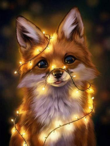NAXIEE 5D Diamant Malerei Kits für Erwachsene Kinder, Lichter Fox Diamond Painting Stickerei Kunsthandwerk für Home Wall Decor