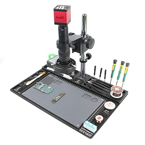 ZGQA-GQA 13MP HDMI VGA Video Microscope Camera Sets 120X/180X/300X C-Mount Lens Big Workbench Table for Phone PCB SMD Welding Repair (Color : A, Magnification : 300X)
