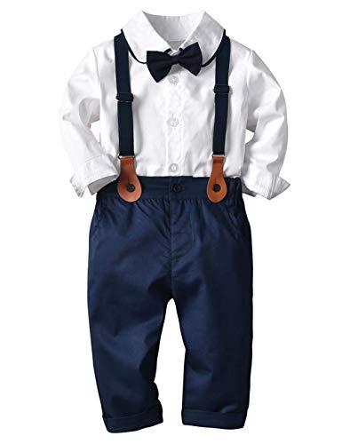 Echinodon [Bekleidung Set Baby Jungen Hemd mit Fliege + Hose mit Träger Babyanzug Festlich Bekleidungsset Taufe Anzug B90