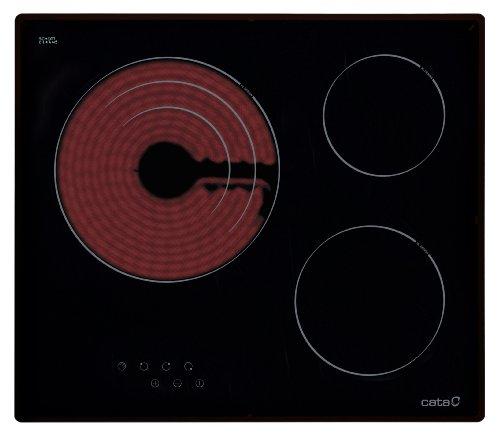 CATA | Placa Vitrocerámica | Modelo TT 603 | Con 3 Zonas De Cocción High light | 9 Niveles de Potencia | Ancho de 59 cm
