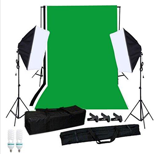 Gowe Photographie Noir Blanc Vert Toile de fond support de fond Studio ampoules à lumière support de lumière