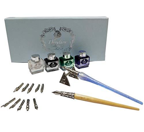 Daveliou Kalligraphie-Stift-Set, 17-teilig, silberfarbenes Glas und Holzstift, 10 Federn und 4 Tintenpatronen
