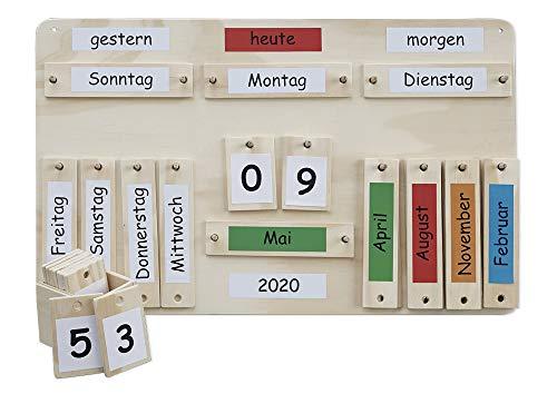 TimeTEX Jahreskalender aus Holz für Grundschule und Kita - 38 x 60 cm - 94910