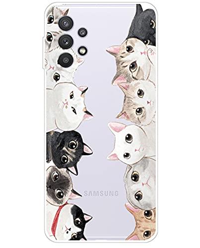 Yagook Silikon Hülle Karikatur TPU Tasche Handyhülle Transparente Durchsichtig Kirstall Clear Ultra Dünn Schutzhülle Stoßdämpfend Case Cover Kompatibel mit Samsung Galaxy A32 5G - Cat