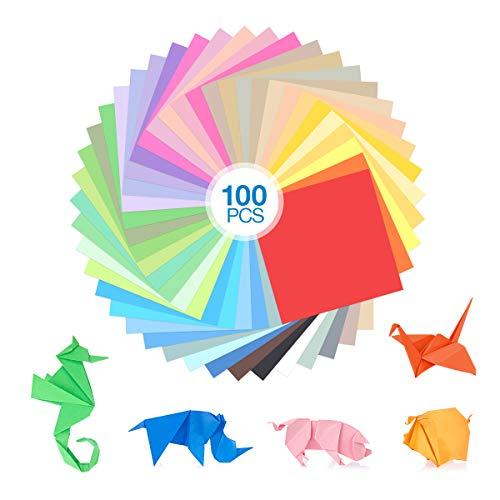 Poweradd Origami Papel 100 Hojas Origami Papel 15x15cm Doble Cara Papel para Papiroflexia para Folded Square Origami Manualidades y DIY Proyectos de Artes