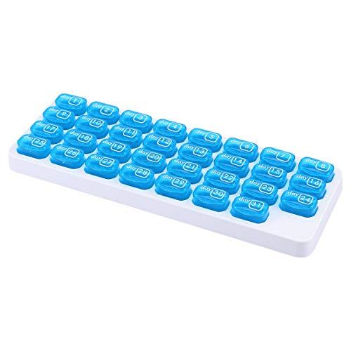 OUNONA Pillen-Organisator-Kasten-EIN Monatsdeckel-Medizin-Tabletten-Speicher-Zufuhr 31 Tag f¨¹r Reise t?glicher Gebrauch