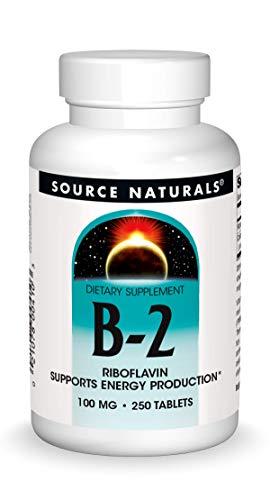 Source Naturals Vitamin B-2 Riboflavin 100 mg unterstützt die Energieproduktion - 250 Tabletten