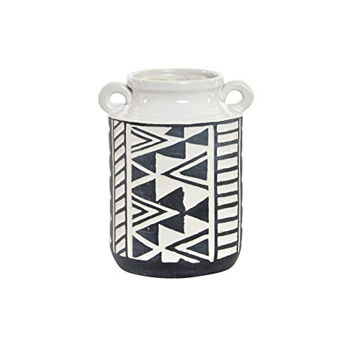 Witte en zwarte vaas van aardewerk, met handgrepen. Ikaat in etnische stijl (15,5 cm x 19,5 cm x 13,5 cm) - huis en meer