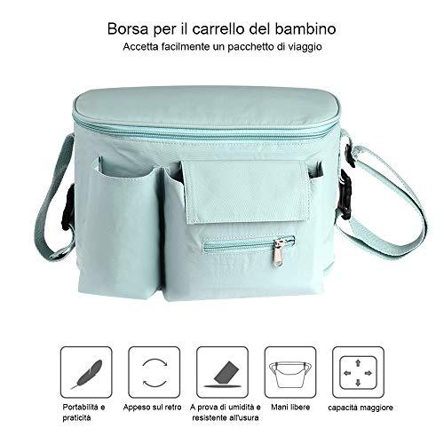 Faburo Bambino Passeggino Universale Organizzatore Borsa, con Porta Bottiglia, Impermeabile, per la raccolta di Salviette, Pannoli, Ciuccio, Giochini, Scarpine, Cellulare.