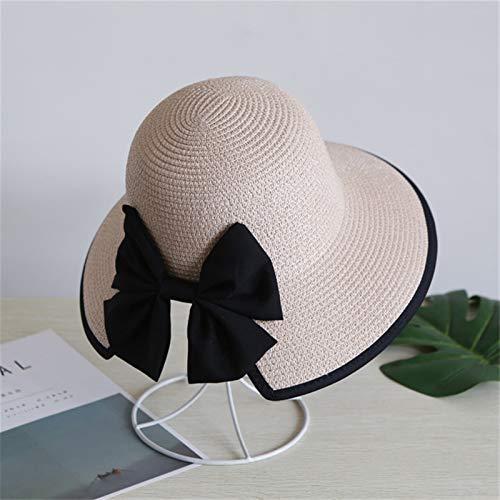 Sunhat Chapeau de soleil tendance 2021 à large bord fait main en paille pour fille (couleur : rose, taille : 58 cm)