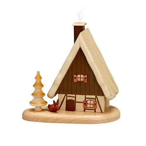 German Incense Smoker House on pedastal, Natural - 16x15,5x10cm - Zeidler Holzkunst