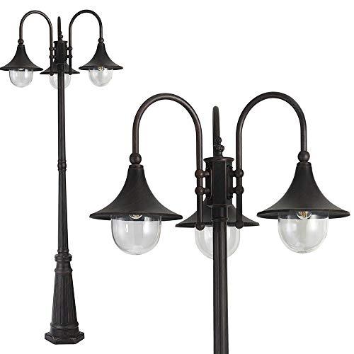 Bakaji Lampione Vittoriano Classico da Giardino in Alluminio Lampada Braccio ad Arco Lanterna a Sfera Colore Nero Finitura Anticata Bronzo IP44 E27 (3 Luci 220 cm)