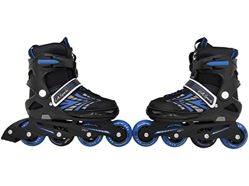 L.A. Sports Inliner Skate Soft Kinder Jugend Damen Größenverstellung 5 Größen verstellbar (37-41, Stripes blau)