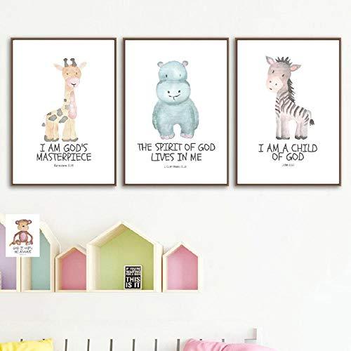 Bibel Vers Animal Prints Aquarell Safari Thema Poster Baby Dusche Geschenk Schrift Wandkunst Leinwand Malerei Kinderzimmer Wand Decor 24x32 zoll (60x80 cm)