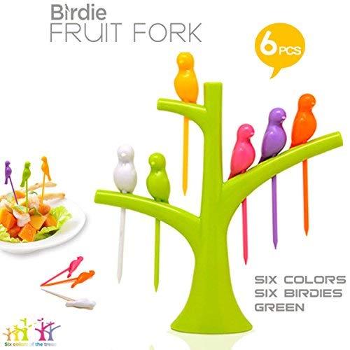 6 Pcs Cute Fruit Fork Set Snack Dessert Forks Picks Party Home Kitchen with 1 Tree Shape Holder for Kids