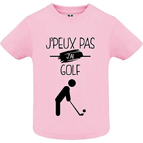 LookMyKase T-Shirt - J Peux Pas j AI Golf - Bébé Fille - Rose - 18mois