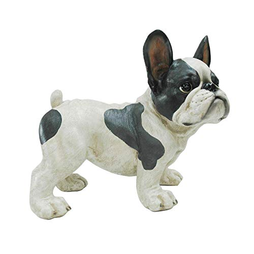 MISC White French Bulldog Statue Standing Dog Sculpture Frenchies Puppy Decor Art Artistic Pose Guard Yard Garden Front Porch Decorative, Polyresin 12x9x11.5