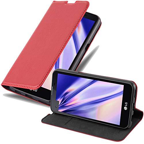 Cadorabo Hülle für LG X Screen - Hülle in Apfel ROT – Handyhülle mit Magnetverschluss, Standfunktion & Kartenfach - Case Cover Schutzhülle Etui Tasche Book Klapp Style