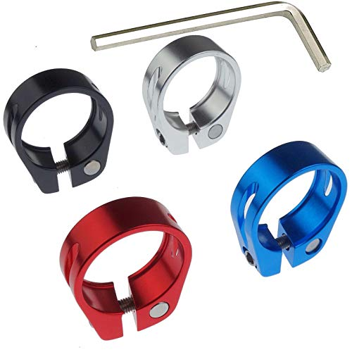 Kasteco 4 Pack Aluminium Alloy Bicycle Seatpost Clamp (black,blue,red,silver, 31.8mm)