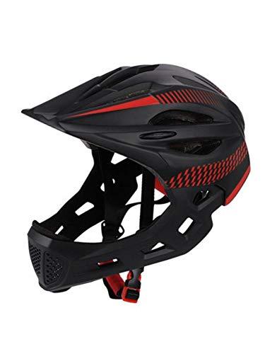 Goodtimera - Casco integral para bicicleta de montaña (42-52 cm, antigolpes, talla ajustable, Mentón desmontable)