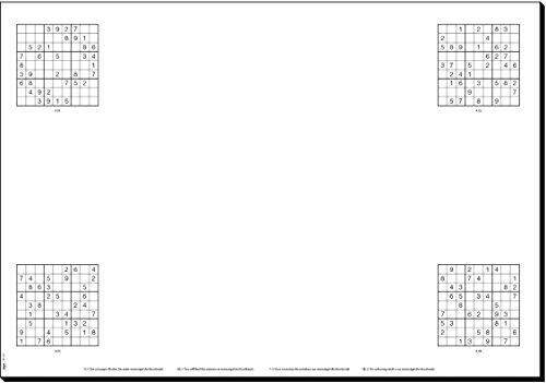 SIGEL HO250 papieren bureauonderlegger met 80 verschillende Sudokus, ca. DIN A2 - extra groot, 20 vellen